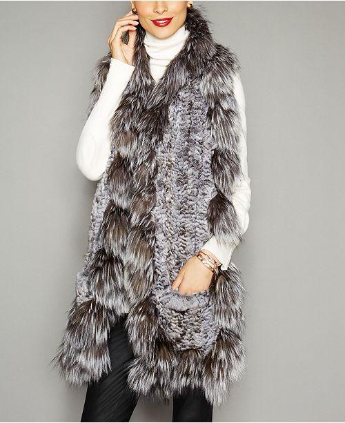 The Fur Vault Fox-Trim Knitted Chinchilla Fur Scarf