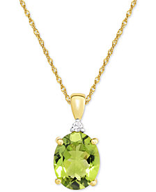 Peridot (2-1/2 ct. t.w.) & Diamond Accent Pendant Necklace in 14k Gold
