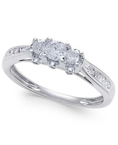 diamond trinity engagement ring 12 ct tw in 14k white gold macys - Macys Wedding Rings