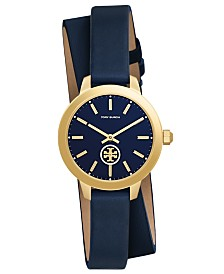 Tory Burch Women's Collins Tory Navy Leather Wrap Strap Watch 32mm