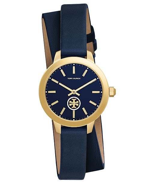 f176387f705 Tory Burch Women s Collins Tory Navy Leather Wrap Strap Watch 32mm ...