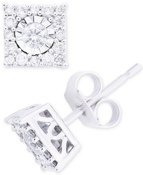 c493d327b ... Macy's Diamond Cluster Stud Earrings (1/3 ct. t.w.) in 14k White ...