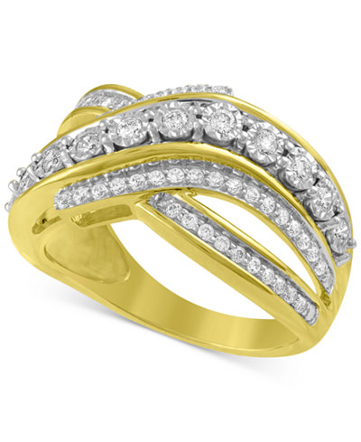 Diamond Crisscross Statement Ring (1/5 ct. t.w.) Ring in 14k Gold-Plated Sterling Silver