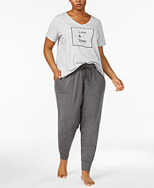 Alfani Plus Size Graphic T-Shirt & Pajama Joggers Sleep Separates, Created for Macy's