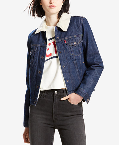 Levi's® Original Fleece-Lined Denim Jacket - Jackets - Women - Macy's