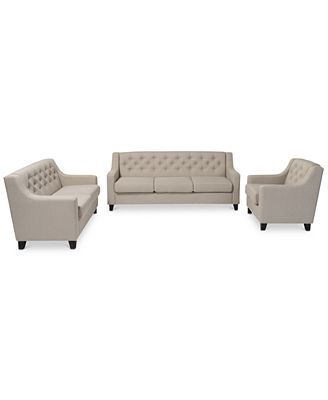 sunday theory arcadia modern button-tufted 3-pc. living room sofa