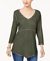 Style & Co Cotton Scarf-Hem T-Shirt, Created for Macy's