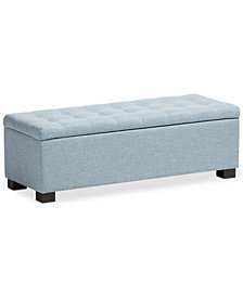 Roanoke Grid-Tufting Storage Ottoman Bench, Quick Ship