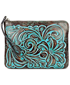 Patricia Nash Cassini Turquoise Tooled Leather Wristlet