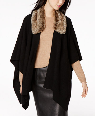 Charter Club Cashmere Faux-Fur-Collar Wrap Sweater, Created for ...