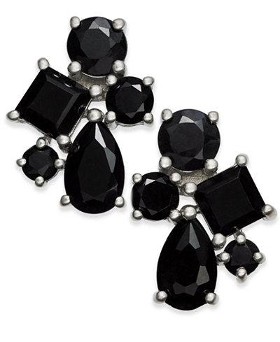 Black Sapphire Cluster Stud Earrings (5-1/2 ct. t.w.) in Sterling Silver