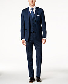 Calvin Klein Men's Big & Tall Slim-Fit Dark Blue Pindot Vested Suit