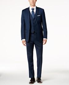 Calvin Klein Men S Tall Slim Fit Dark Blue Pindot Vested Suit