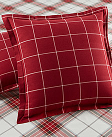 CLOSEOUT! Martha Stewart Collection Deer Pond  100% Cotton Check Flannel European Sham, Created for Macy's