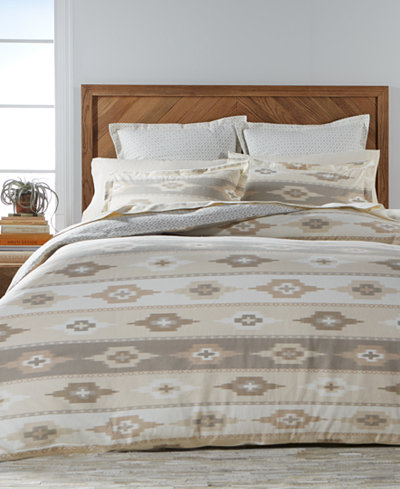 CLOSEOUT! Martha Stewart Collection Stonemeadow 100% Cotton Ikat Flannel Bedding Collection, Created for Macy's