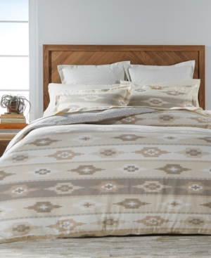 Martha Stewart Collection Stonemeadow 100 Cotton Reversible Ikat Flannel FullQueen Duvet Cover Created for Macys