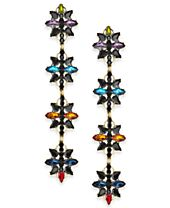 Anna Sui x INC International Concepts Gold-Tone Crystal Flower Linear Drop Earrings, Created for Macy's
