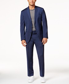 Kenneth Cole Reaction Men's Slim-Fit Navy Iridescent Techni-Cole Suit
