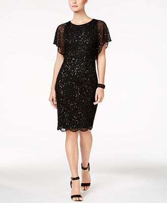 Adrianna Papell Beaded Sequined Dress Dresses Women Macy S