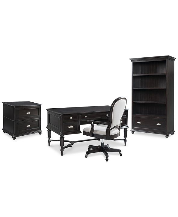 Furniture Clinton Hill Ebony Home Office Furniture Set, 4-Pc. Set (Writing Desk, Lateral File Cabinet, Open Bookcase & Upholstered Desk Chair), Created for Macy's