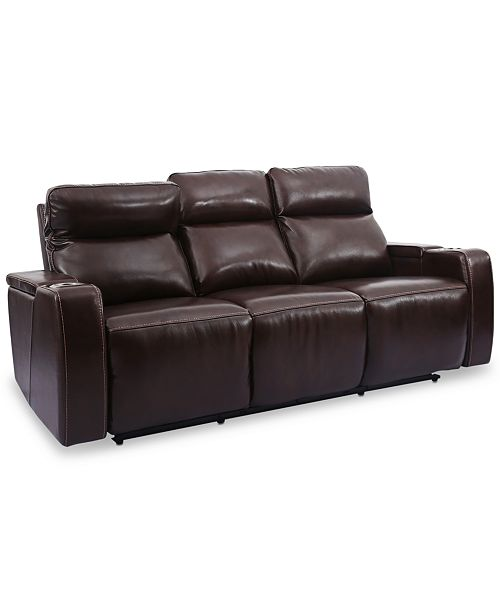 Furniture Oaklyn 85 3 Piece Leather Sectional Sofa With 2 Recliners