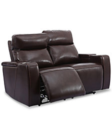 "Oaklyn 61"" Leather Loveseat With Power Recliners, Power Headrests and USB Power Outlet"
