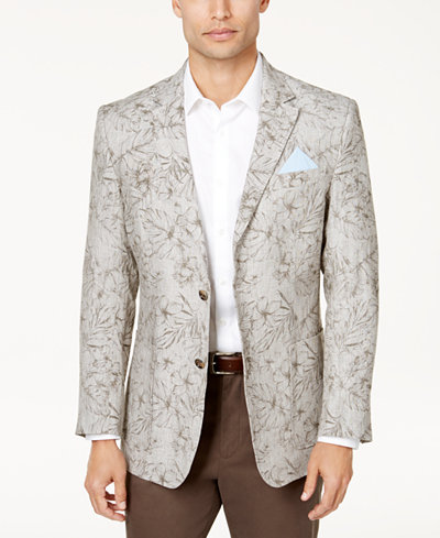 Tasso Elba Men's Floral Print Linen Sport Coat, Created for Macy's ...