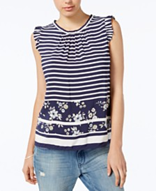 Maison Jules Mixed-Print Top, Created for Macy's