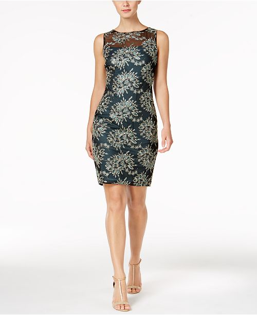 Calvin Klein Embroidered Mesh Sheath Dress