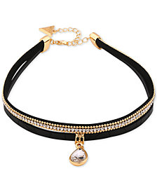 GUESS Gold-Tone Crystal & Faux Leather Pendant Choker Necklace