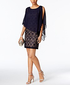 Petite Lace Chiffon Capelet Dress