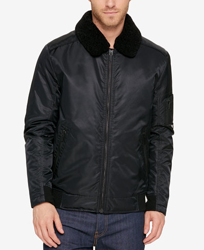 Kenneth Cole Men's A1 Bomber Jacket With Removable Collar - Coats ...