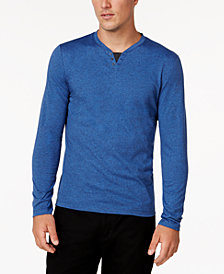 Alfani Men's Heathered Henley, Created for Macy's