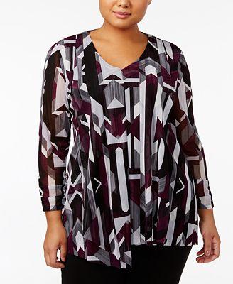 Alfani Plus Size Geometric-Print Draped Tunic, Created for Macy's