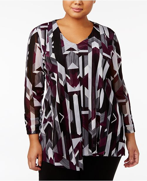 Alfani Plus Size Geometric-Print Draped Tunic, Created for Macy's