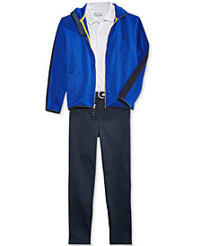 Nautica Uniform Fleece Jacket, Polo, & Flat-Front Twill Pants Separates, Big Boys