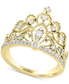 D'oro by EFFY® Diamond Crown Statement Ring (3/8 ct. t.w.) in 14k Gold