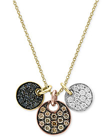 Confetti by EFFY® Diamond Tri-Color Disc Pendant Necklace (5/8 ct. t.w.) in 14k Yellow, White & Rose Gold