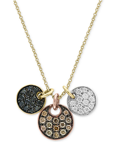 Confetti By Effy 174 Diamond Tri Color Disc Pendant Necklace