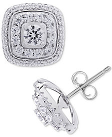 Wrapped in Love™ Diamond Square Halo Diamond Stud Earrings (1 ct. t.w.) in 14k White Gold, Created for Macy's