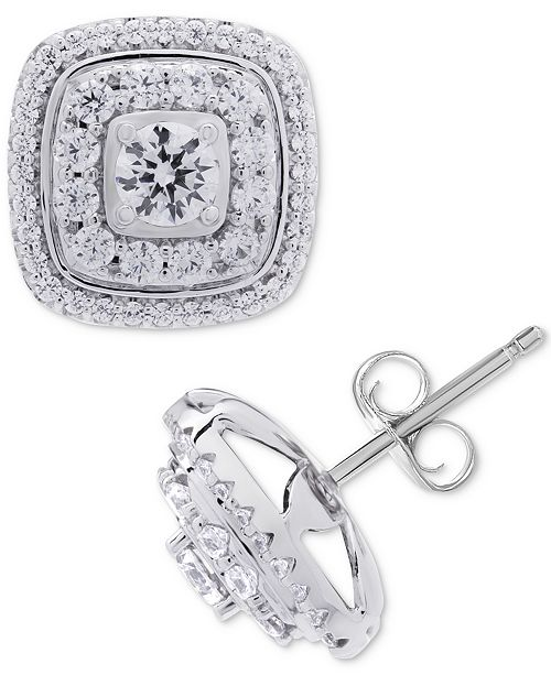 Wrapped in Love Diamond Square Halo Diamond Stud Earrings (1 ct. t.w.) in 14k White Gold, Created for Macy's