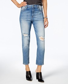 M1858 Claudia High Rise Straight Crop Jeans with Knee Rips, Created for Macy's