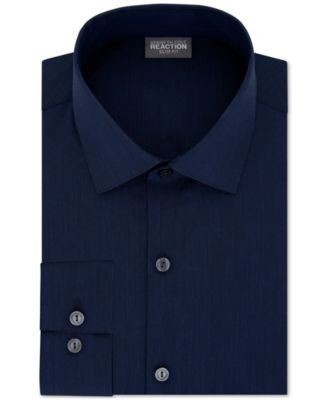 Image of Kenneth Cole Reaction Slim-Fit Techni-Cole Flex Collar Solid Dress Shirt