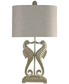 StyleCraft Silver Leaf Seahorse Table Lamp