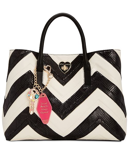 Betsey Johnson Large Chevron Tote with Hotel Charms