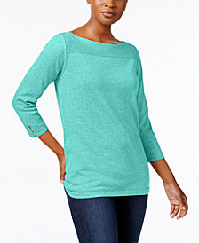 Karen Scott Boat-Neck Cotton Sweater, Created for Macy's