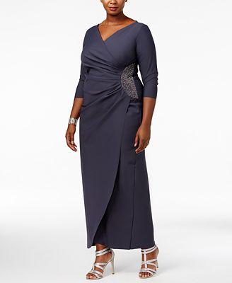 Alex Evenings Plus Size Embellished Draped Gown Dresses Women