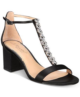 Badgley Mischka Lindsey Block-Heel Evening Sandals Women's Shoes