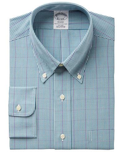 Brooks Brothers Men's Regent Regular Fit Non-Iron Green Gingham Dress Shirt