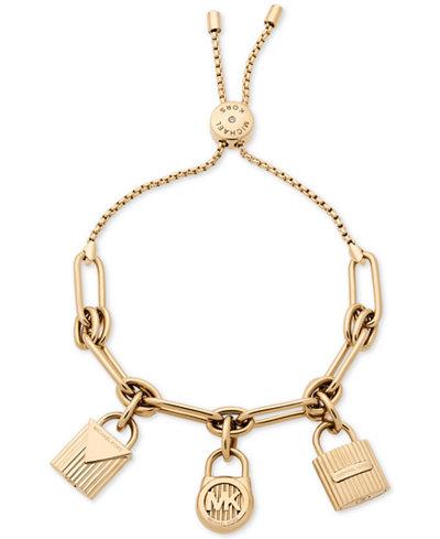 Michael Kors Gold-Tone Stainless Steel Padlock Charms Slider Bracelet